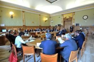 Camera dei deputati Guglielmo Epifani presidente della Commissione Attività Produttive con il ministro Maria Chiara Carrozza